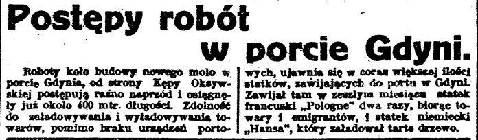 Postępy robót w porcie w Gdyni // Gazeta Bydgoska. - 1924, nr 290, s. 1