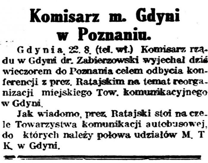 Komisarz m. Gdyni w Poznaniu // Gazeta Bydgoska. -1931, nr 194, s. 2