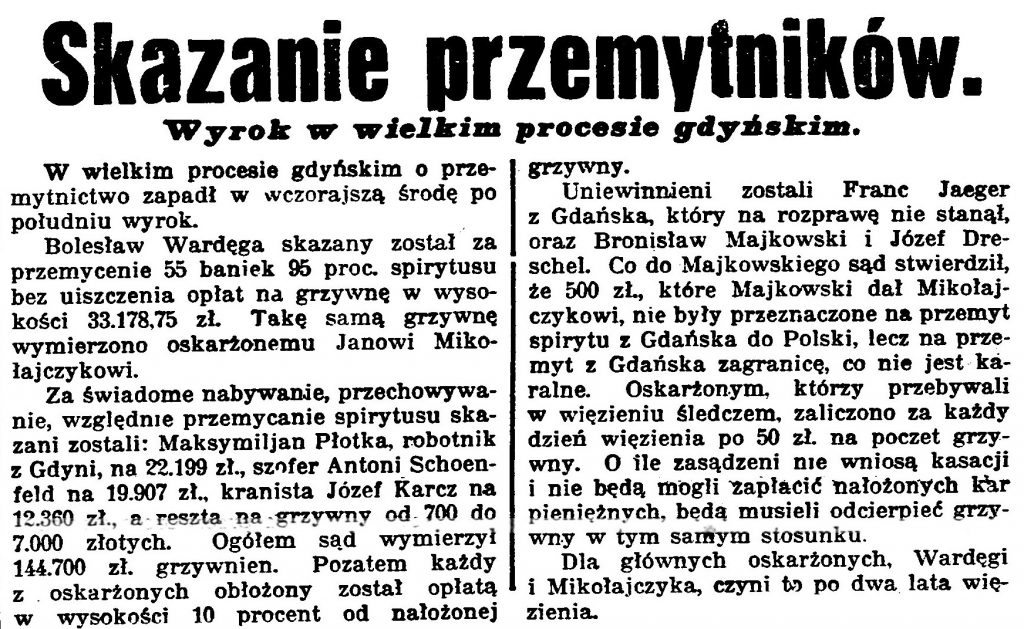 Skazanie przemytników. Wyrok w wielkim procesie gdyńskim // Gazeta Bydgoska 1933, nr 39, s.6