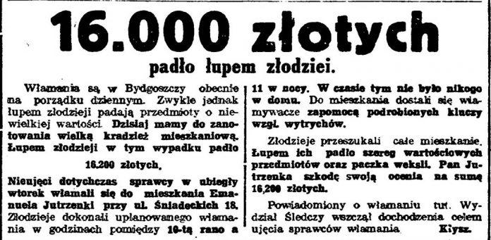 16.000 złotych padło łupem złodziei // Gazeta Bydgoska. - 1933