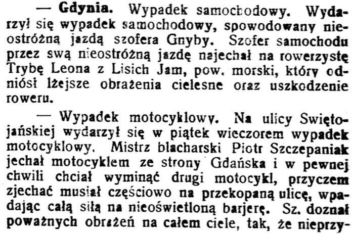 [Wypadki w Gdyni] // Gazeta Kartuska. - 1930, nr 41, s. 2