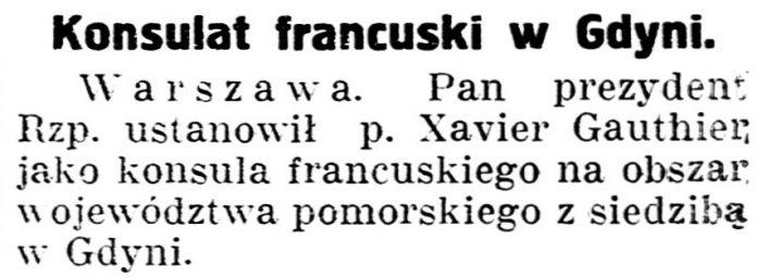 Konsulat francuski w Gdyni // Gazeta Kartuska. - 1935, nr 76, s. 1