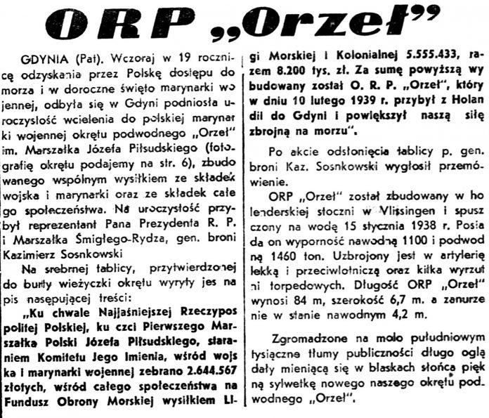 ORP ORZEŁ // Dziennik WIleński 1939