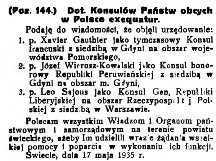 Wiadomości-Samorządowe-Powiatu-Świeckiego-nr-19-30-maja-1935-s.-81 Konsul Francuski exequatur