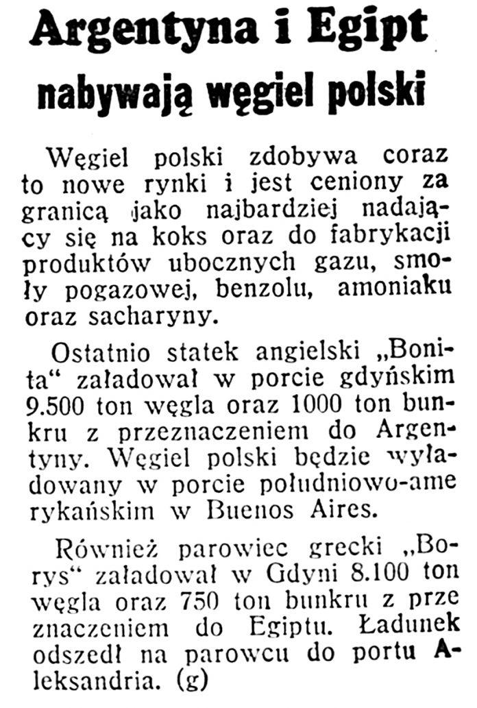 Argentyna i Egipt nabywają węgiel polski // Dzień Dobry. - 1939, nr 174