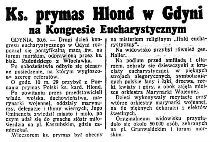 Ks. prymas Hlond w Gdyni na Kongresie Eucharystycznym // Dzień Dobry. - 1939, nr 179