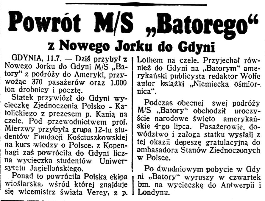 Powrót m/s Batory do Gdyni // Dzień Dobry 1939, nr 190