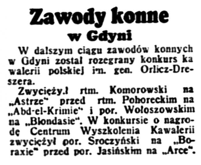 Zawody konne w Gdyni // Dzień Dobry. - 1939, nr 202