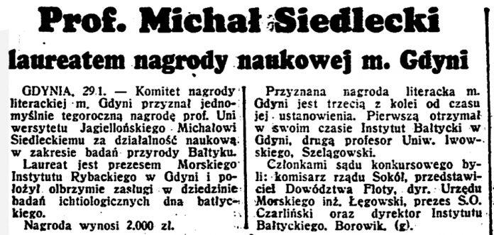 Prof. Michał Siedlecki laureatem nagrody naukowej m. Gdyni // Dzień Dobry. - 1939, nr 30
