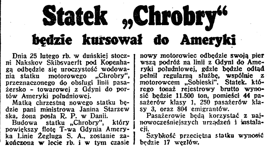 Statek Chrobry Będzie kursował do Ameryki // Dzień Dobry 1939, nr 40