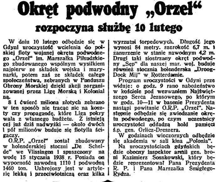 ORP ORZEŁ rozpoczyna służbę 10 lutego Dzień Dobry 1939
