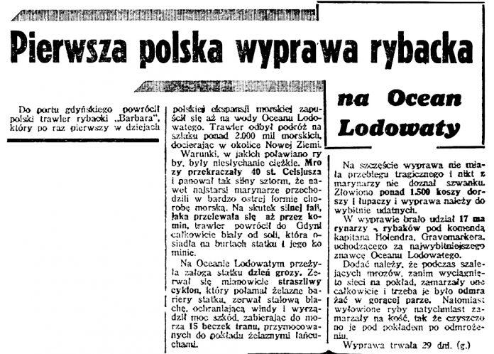 Pierwsza polska wyprawa rybacka na Ocean Lodowaty // Dzień Dobry. - 1939, nr 40