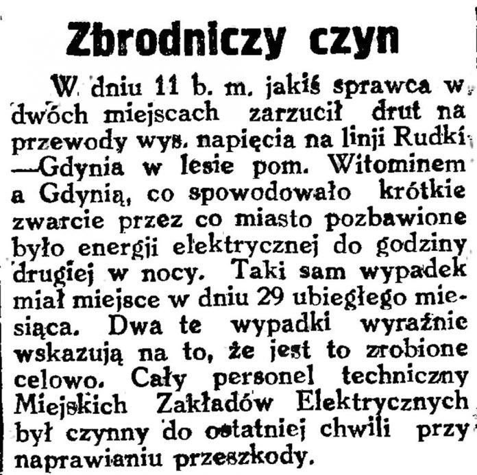 Zbrodniczy czyn, Gazeta Gdańska 1929, nr 159, s. 4