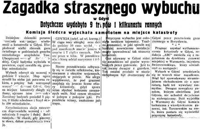 Zagadka strasznego wybuchu w Gdyni. Dotychczas wydobyto 9 trupów i kilkunastu rannych. Komisja śledcza wyjechała samolotem na miejsce katastrofy // ABC. - 1931, nr 295, s. 1