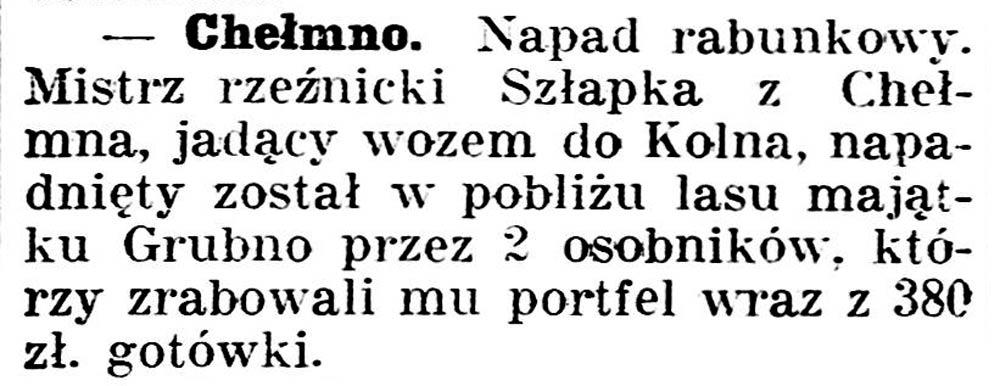 Chełmno [Napad rabunkowy] // Gazeta Kartuska.-1936, nr 6, s.3