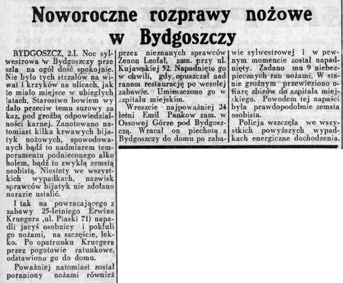 Noworoczne rozprawy nożowe w Bydgoszczy // Dziennik Ilustrowany. - 1937, nr 3, s. 3