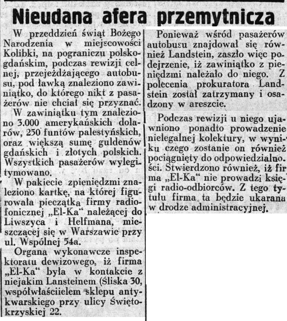 Nieudana afera przemytnicza // Dziennik Ilustrowany. - 1937, nr 3, s. 3