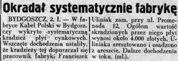 Okradał systematycznie fabrykę // Dziennik Ilustrowany. - 1937, nr 3, s. 3