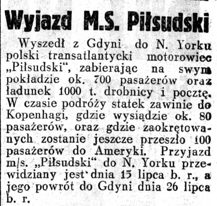 Wyjazd M.S. Piłsudski // Dziennik Ilustrowany. - 1937, nr 187, s. 7
