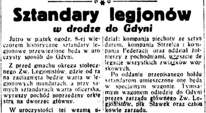 Sztandary legjonów w drodze do Gdyni // Dobry-Wieczór-1932 nr 183,
