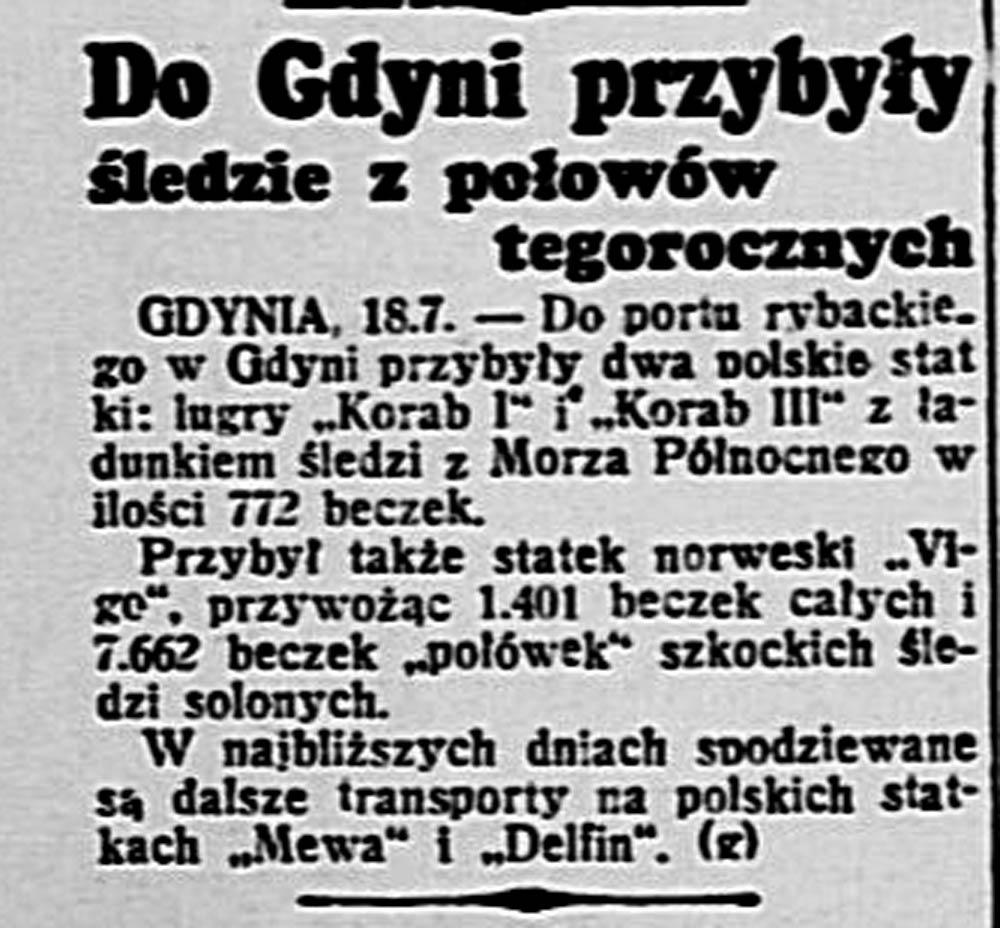 Do Gdyni przyszły śledzie z połowów tegorocznych // Dobry Wieczór-Kurjer Czerwony. - 1939, nr 196, s. 2