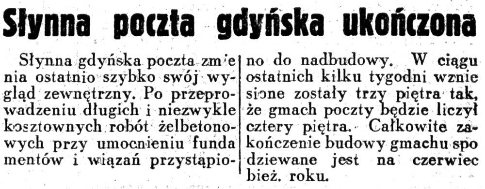 Słynna poczta gdyńska ukończona // Dziennik Ilustrowany 1937, nr 105, s.8