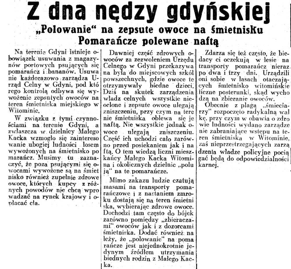 """Z dna nędzy gdyńskiej. """"Polowanie""""na zepsute owoce na śmietnisku. Pomarańcze polewane naftą // Dziennik Ilustrowany. - 1947, nr 105, s. 6"""