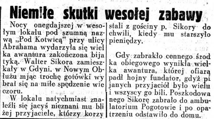 Niemiłe skutki wesołej zabawy // Dziennik Ilustrowany.- 1937, nr 189, s. 6