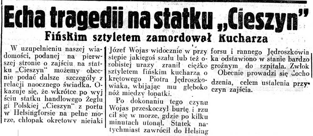 """Echa tragedii na statku """"Cieszyn"""". Fińskim sztyletem zamordował kucharza // Dziennik Ilustrowany. - 1937, nr 189, s. 7"""