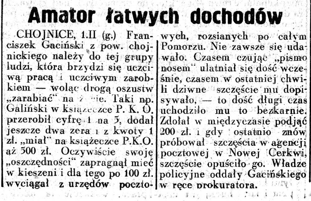 Amator łatwych dochodów // Dziennik Ilustrowany. - 1937, nr 2, s. 3