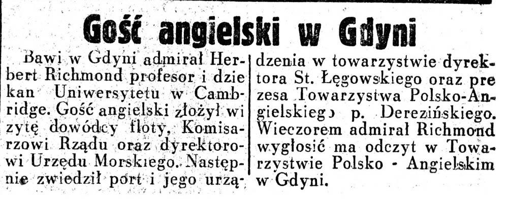 Gość angielski w Gdyni // Dziennik Ilustrowany. - 1937, nr 37, s. 8 /