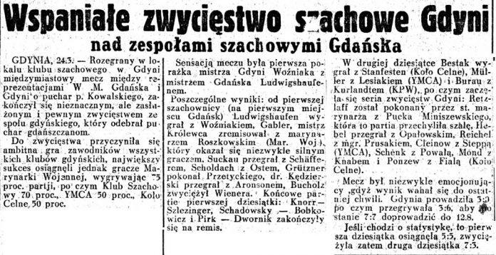 Wspaniałe zwycięstwo szachowe w Gdyni nad zespołami szachowymi z Gdańska// Dziennik-Ilustrowany-1937,-nr-37,-s.8