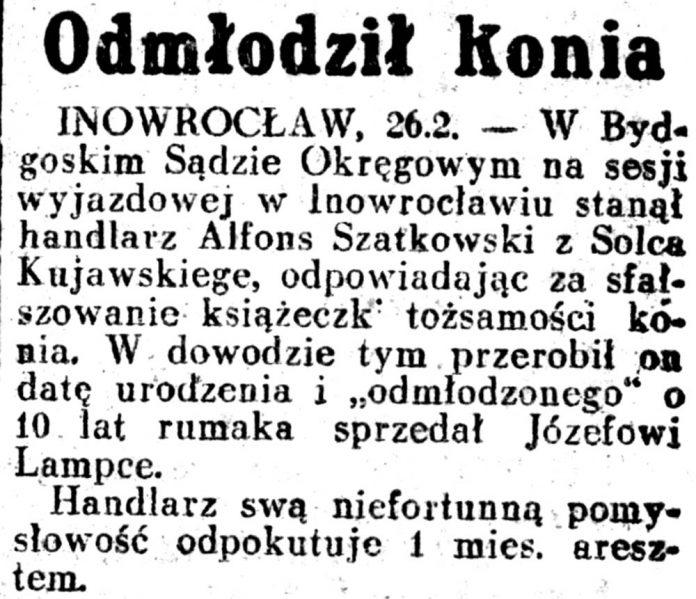 Odmłodził konia // Dziennik Ilustrowany 1937, nr 58, s. 3