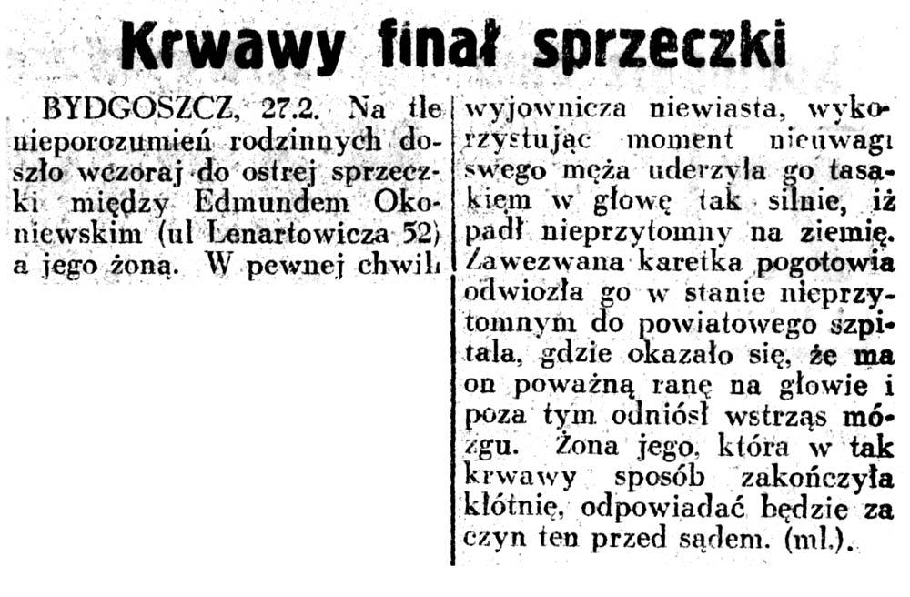 Krwawy finał sprzeczki // Dziennik Ilustrowany. - 1937, nr 58, s. 3