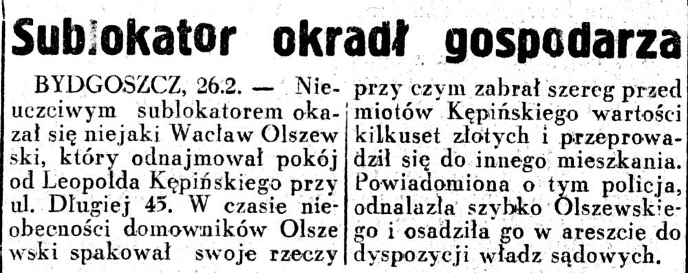 Sublokator okradł gospodarza // Dziennik Ilustrowany. - 1937, nr 58, s. 3