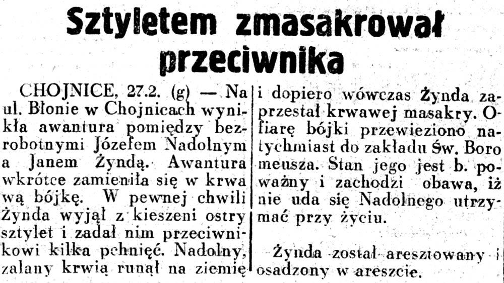 Sztyletem zmasakrował przeciwnika // Dziennik Ilustrowany. - 1937, nr 58, s. 3