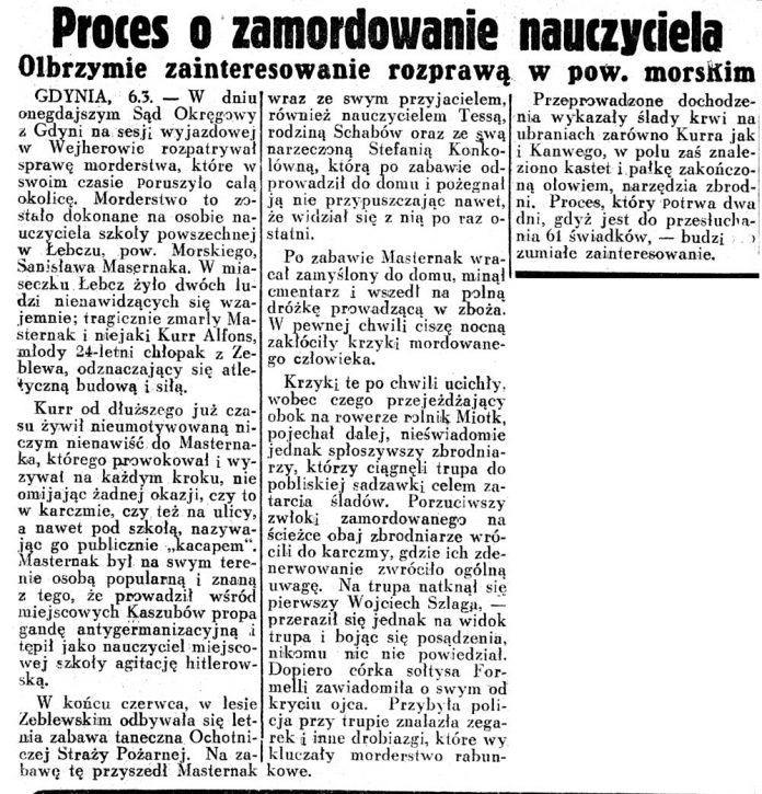 Proces o zamordowanie nauczyciela.Olbrzymie zainteresowanie rozprawą w pow. morskim // Dziennik Ilustrowany 1937, nr 65, s. 8