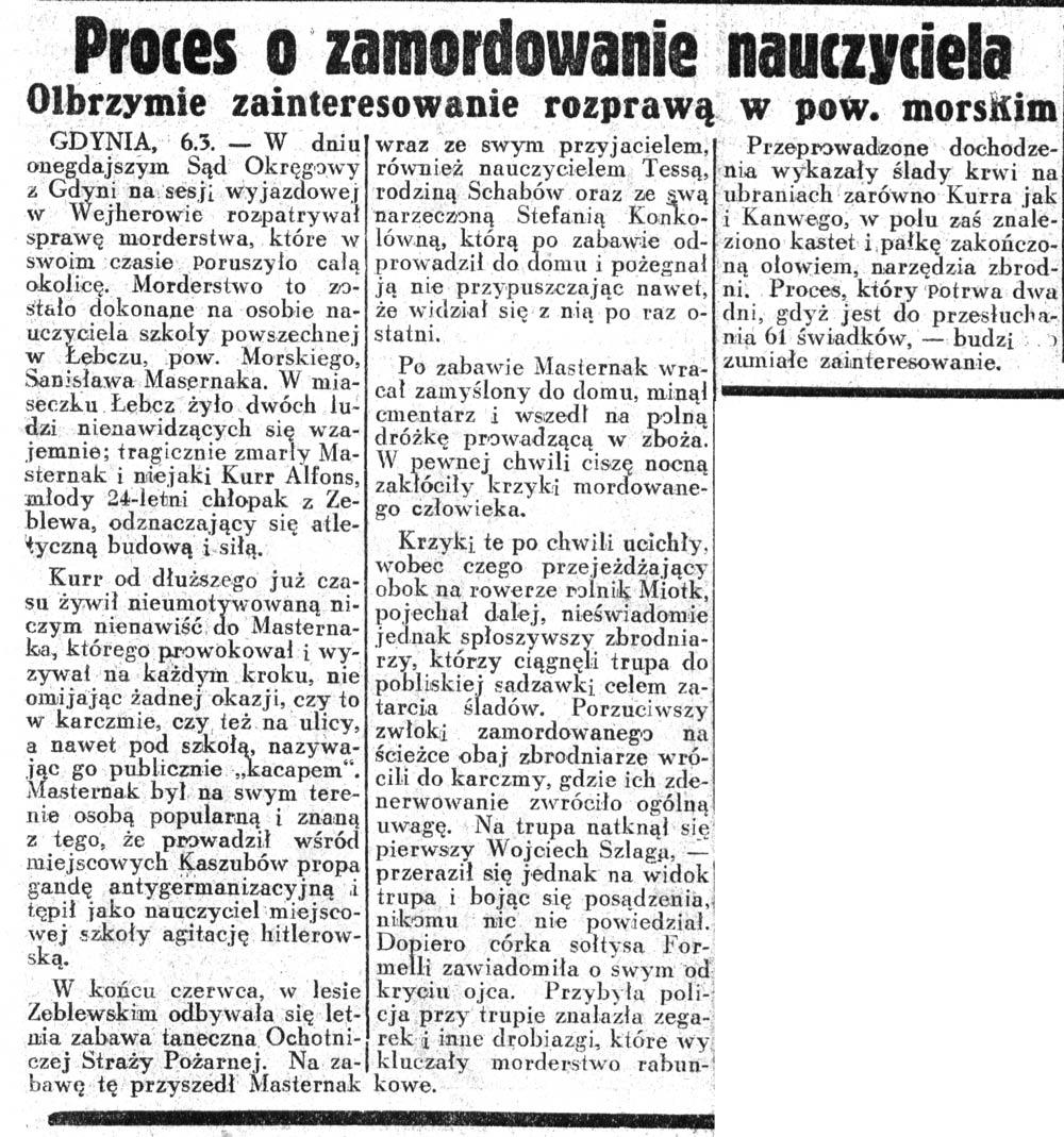 Proces o zamordowanie nauczyciela. Olbrzymie zainteresowanie rozprawą w pow. morskim // Dziennik Ilustrowany. - 1937, nr 65, s. 8