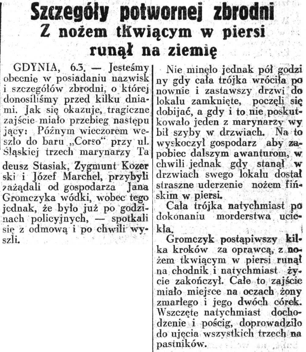 Szczegóły potwornej zbrodni. Z nożem tkwiącym w piersi runął na ziemię // Dziennik Ilustrowany. - 1937, nr 65, s. 8