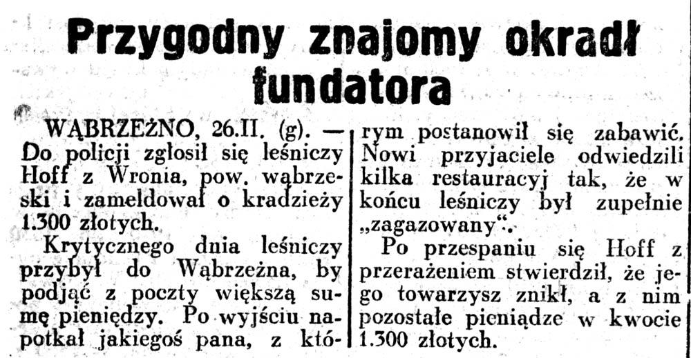 Przygodny znajomy okradł fundatora // Dziennik Ilustrowany. - 1937, nr 58, s.3