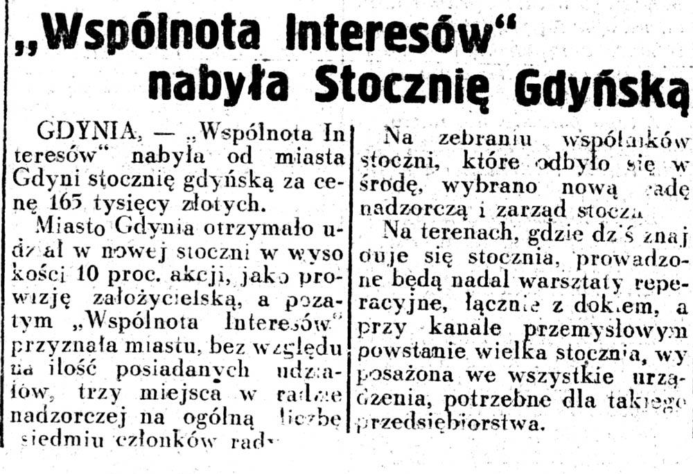 """""""Wspólnota Interesów"""" nabyła Stocznię Gdyńską // Dziennik Ilustrowany. - 1937, nr 58, s. 3"""