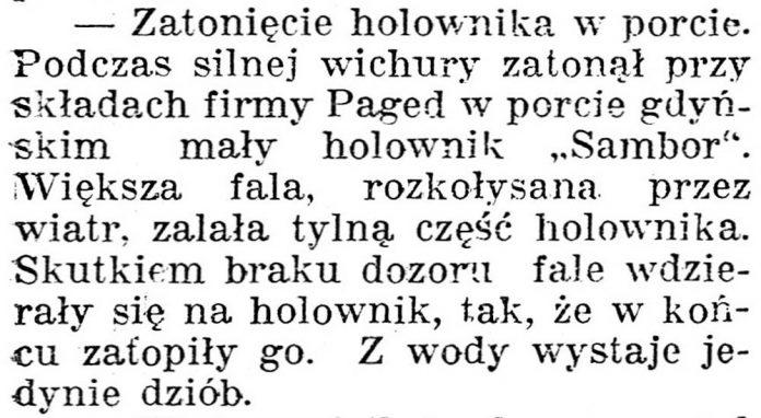 Zatonięcie holownika w porcie // Dziennik Poznański. - 1938, nr 294, s. 3