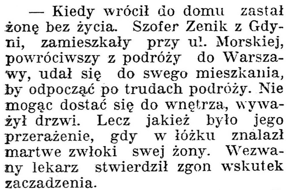 Kiedy wrócił do domu zastał żonę bez życia // Dziennik Poznański. - 1938, nr 294, s. 3