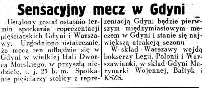 Sensacyjny mecz w Gdyni // Dziennik Ilustrowany.- 1937, nr 105, s. 8