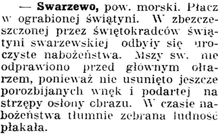 Swarzewo [Płacz w ograbione świątyni]Gazeta Grudziądzka 1936, nr 6, s.3