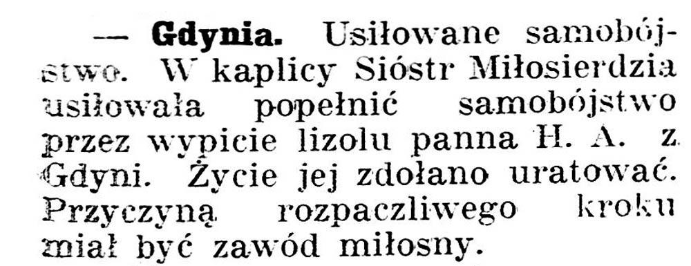 [Usiłowanie samobójstwa] // Gazeta Kartuska. - 1936, nr 6, s. 3