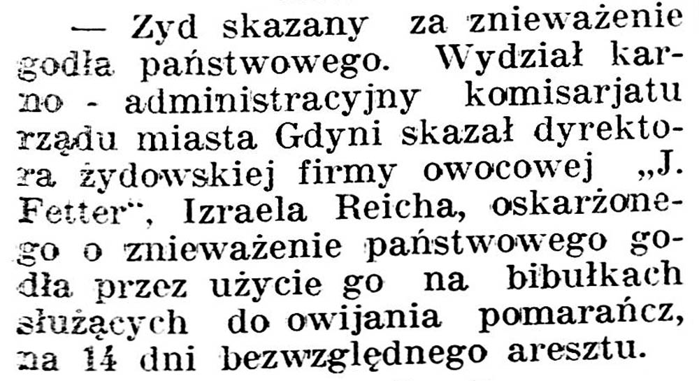 Żyd skazany za znieważenie godła państwowego // Gazeta Kartuska.-1936, nr 6, s. 3