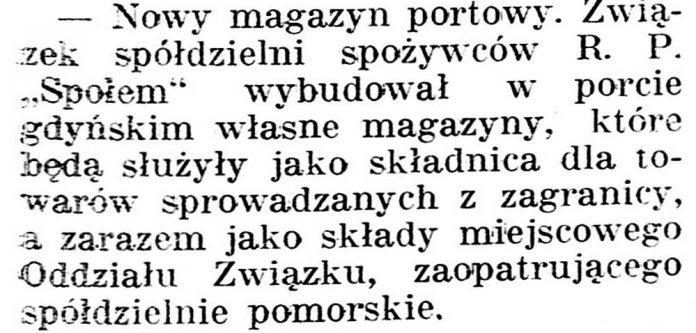 Nowy magazyn portowy // Gazeta Kartuska. - 1936, nr 6, s. 3