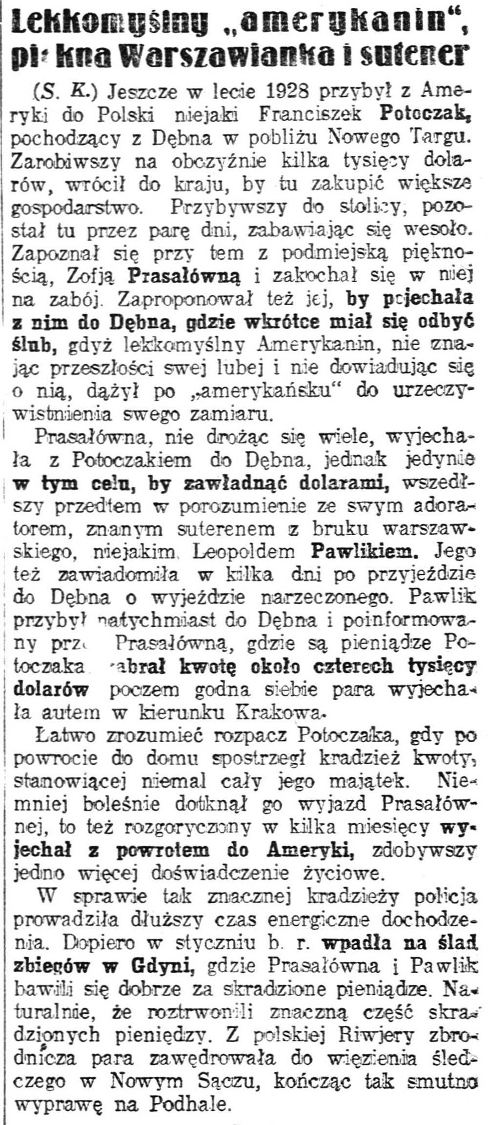 """Lekkomyślny """"amerykanin"""", piękna Warszawianka i sutener / IIlustrowany Kuryer Codzienny 1929 nr 56"""