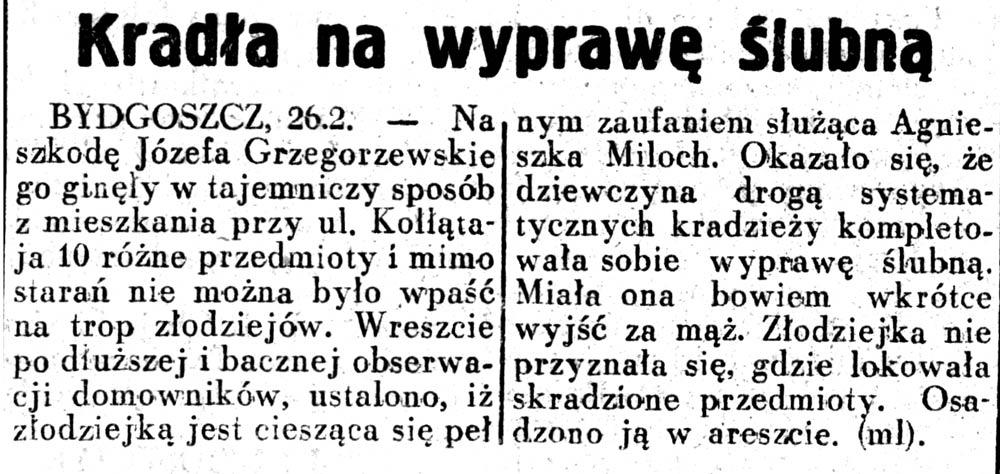 Kradła na wyprawę ślubną Dziennik Ilustrowany 1937, nr 58, s.3